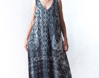 NO.116 Grey, Black and White Cotton Jersey V-Neck Maxi Dress, Lace Printed Sleeveless Dress