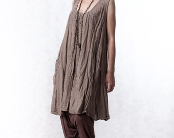 NO.19 Brown Double Cotton Gauze Tunic Top Pleated Front Long Top, Tank Top