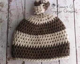 Newborn Knot Hat, Neutral Hat, Newborn Knot Hat, Newborn Top Knot Hat, Newborn Knotted Hat, Top knot Hat, Knot hat, Newborn Photo Prop