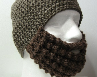 Crochet Bearded Skullcap - Beard Hat - Taupe Hat With Beard Face Warmer - Ready To Ship!