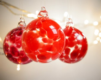 Mini Vermillion Red Blown Glass Christmas Ornament, Collectable Bauble
