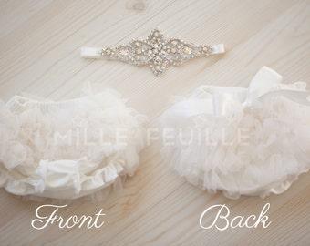 Tutu Bloomers - Ivory & AB crystal Crown headband - diaper cover ruffle newborn bloomers in off white cake smash set newborn