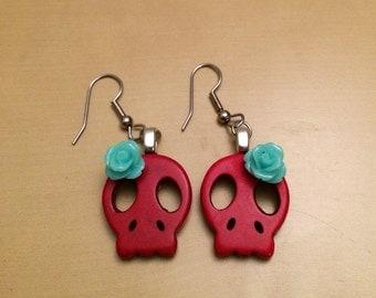 Skull Earrings red and blue