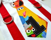 Elmo Birthday Inspired Tie and Suspenders Bodysuit or T-Shirt for Baby Boys - Sesame Street 1st Birthday - Elmo Cake Smash Outfit Boys