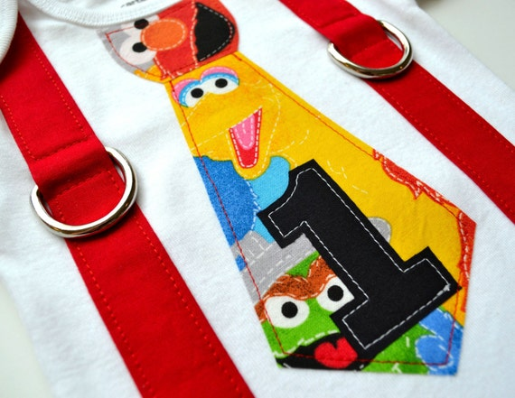 Items Similar To Elmo Birthday Inspired Tie And Suspenders