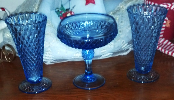 Vintage Blue Indiana Cut Glass - Two Vases and One Compote Set