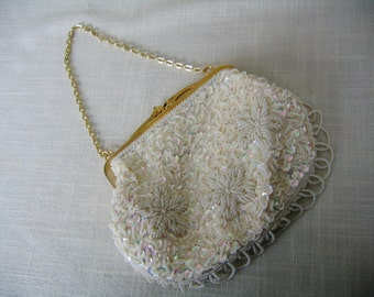 Pearl-Beaded EVENING BAG Creme-Colored Gold Tone Frame Purse Aurora Borealis Sequins Vintage Gift