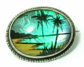 Vintage/ estate/ antique Art Deco 1930s/ 1940s T.L.Mott, sterling silver & butterfly wing, palm tree brooch