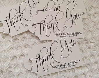 Thank You Script Tag - Wedding Favor Thank You Tags - Personalized - Bridal Shower - Baby Shower - Custom Quantities are Available WT-010