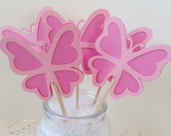 Butterfly Cupcake Toppers - Assorted Colors and Quantities Available - Birthday Party -  Garden Party - Bridal Shower - Baby Shower
