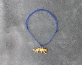 Blue tiger cord bracelet / charm bracelet
