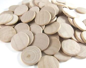 "100 Unfinished Wood Discs Coins Circles - 1"" (2.5cm) Diameter"