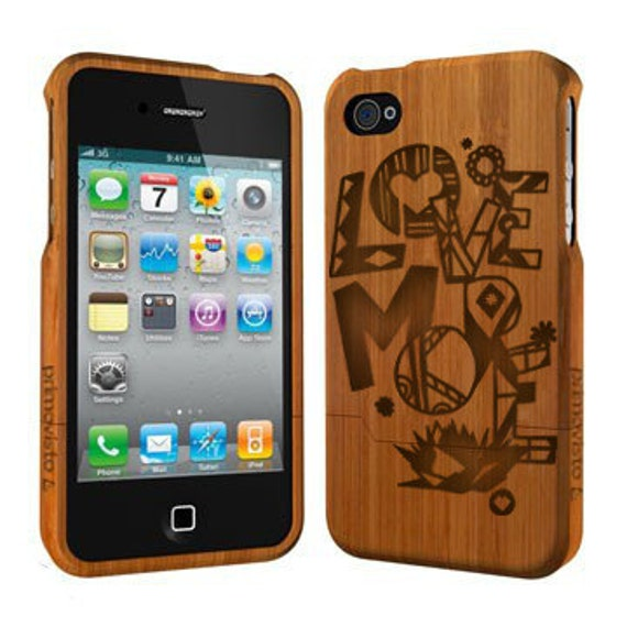 Primovisto 'Love More' Wood iPhone 4 / 4S case, Bamboo iPhone 4 / 4S Case, iphone case,