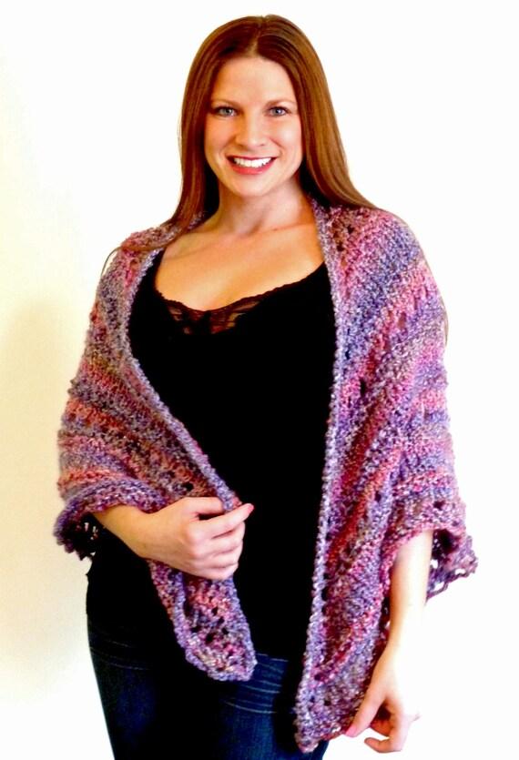 Shawl; Triangle Knit Shawl, Lacey Hand Knit Wrap, Comfort Shawl, Prayer Shawl - MIXED BERRIES Medium Purple & Fuchsia