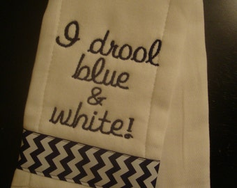 """Navy and White """"Drool"""" Burp Cloth"""