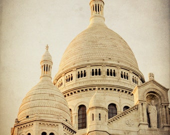 Sacre Coeur Photograph -  Vintage Paris Photography - Montmartre Photo - La Basilique du Sacré Coeur - France Print - Paris Sunset