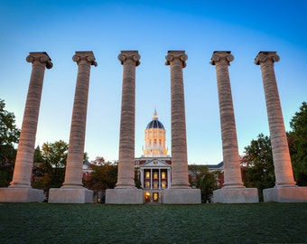 Mizzou Homecoming Photograph - Columns on the Quad - Jesse Hall Golden Dome - University of Missouri Print - Columbia MO Art