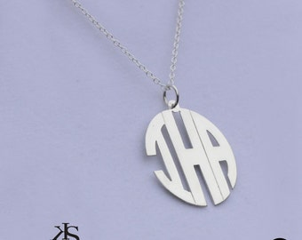 Monogram Initials Pendant with Mdern Letters -  Block Letter Initials Small to Large Sizes - Sterling Silver