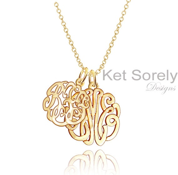 Personalized Mother-Child Initials or Couples Monogram Necklace (Order Any Initials) - Karat Gold, Silver or 14K Goldfilled