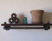 """24"""" Single Under Mount Walnut Pipe shelf"""