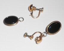Vintage Amco jet screw back earrings, 1930s earrings FOR REPAIR