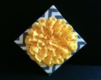 Yellow and Gray Flower Wall Hanging