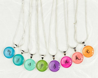 Initial Necklace, Colorful Initial Jewelry, Unique, Whimsical Initial, Personalized Jewelry, Gift for Friend, Rainbow Colors, Handmade