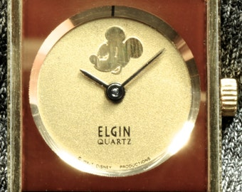 Vintage Ladies Elgin Mickey Mouse Watch - Burgundy and Gold Walt Disney Collectible