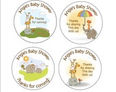 Personalized  Round Animal Zoo Baby shower sticker favors, decorations - choice of size