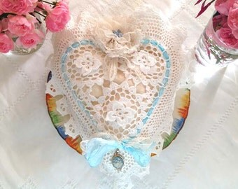 Wedding Ring Bearer Pillow - Something blue