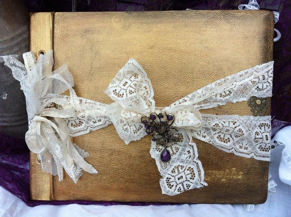 wedding photo album vintage shabby chic style. Black Bedroom Furniture Sets. Home Design Ideas