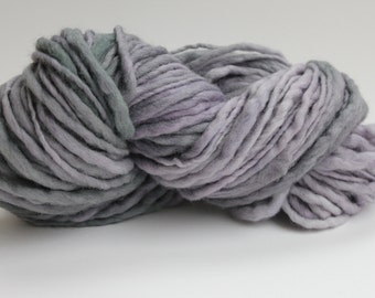 Silver Magnolia  Multi Color Hand Spun, Hand Dyed  Thick and Thin   Super Chunky Wool Yarn