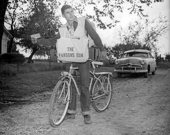 Paper Boy Delivers, Vintage Image from Original Negative 8x10 Hawthorne Bike, old Car