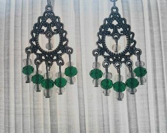 Silver Chandelier dangle earrings.