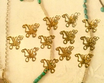 12 Goldplated Butterfly Pendants with Rhinestone