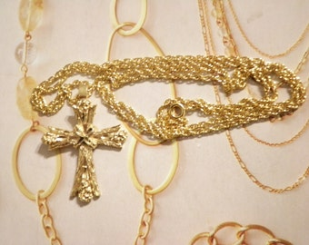 "1 Goldplated Cross on a 24"" Goldplated Chain"