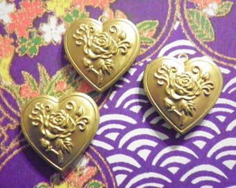 3 Brass 30mm Heart Lockets with Roses