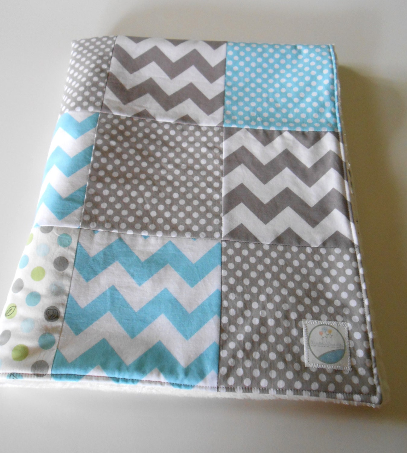 Minky Baby Boy Patchwork Quilt Blanket Riley by ...