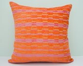 Orange pillow cover, decorative throw pillow, cushion cover, accent pillow, pillowcase, orange cushion cover, modern pillow - 18 x 18 inches