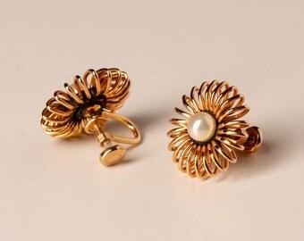 14K Gold Filled Vintage Faux Pearl Earrings