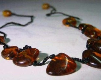 Beautiful Artisan Cognac  Russian Baltic Amber Knotted Necklace New old stock