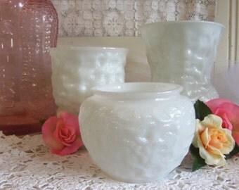 3 White or Milk Glass Brody Vases Planters  B362
