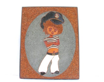 Sailor wall hanging Gift for sailor Marine Soviet vintage handmade wall decor Seaman wall art Little sailor