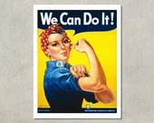 Rosie The Riveter - We Can Do It, 1943 War Production Poster - 8.5 x 11 Poster Print - also available in 13x19 - see listing details