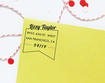 vintage type ribbon flag return address stamp / rubber stamp with wood handle