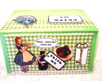 Alice in Wonderland Cherry Tart Cheshire Cat Vinyl Checkbook Cover - Scrapbooked