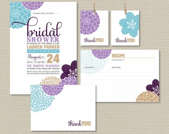 Printable Bridal Shower Invitation Party Pack - Modern flower design // Purple // Plum // Blue // Champagne (PP37)