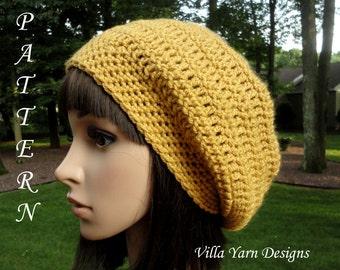 Crochet Hat Pattern - Slouchy Hat - Teen Women Men - Unisex Slouchy Hat, #201