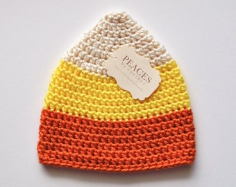 Candy Corn Baby Hat (Baby Gifts Baby Beanie Newborn Hat Crochet Baby Hat Newborn Hats Baby Beanies)