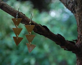 tiered brass triangle drop earrings